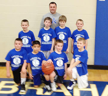 Second and third grade teams Blue Team - Coach Eric Devary; players are Carson Devary, Dawson Smith, Samuel Bowling, Cutter Boley, Luke Howell, Hayden Cleveland, Aaron Silva and Brady Sheldon.