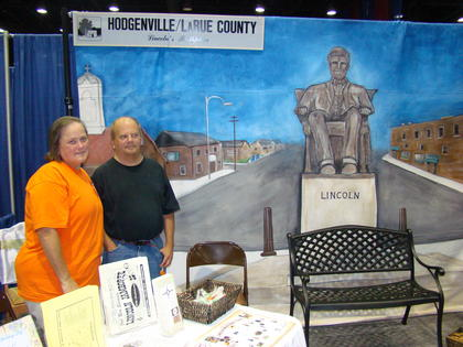 Bonnie and Tim Willenbrink welcomed visitors at the LaRue County booth.