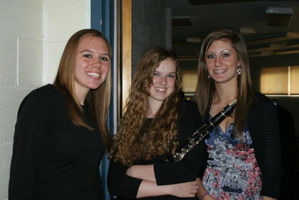 Brittany Eads and Sara Rogers, members of the Band of Hawks, performed during the ceremony.