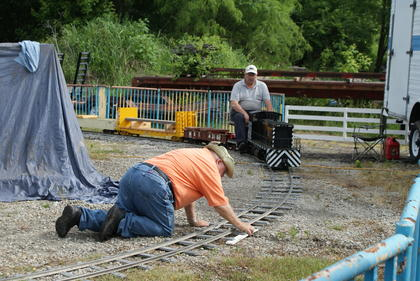 Workers tried to get a miniature train running Saturday at the Kentucky Railway Museum.