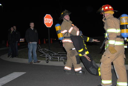LaRue County firefighter, Chris Schmittou, competed in the dummy drag.