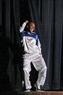 Kelton Ford danced for the crowd when he was introduced on Blue/White Night.