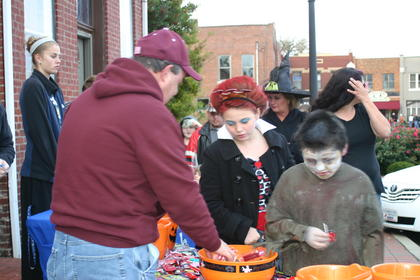 Lindsey Whitlock and Jacob Whitlock dressed as the Frankensteins during Trick-or-Treat on the Square.