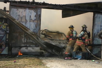 LaRue, Buffalo and Valley Creek firefighters worked to extinguish a barn fire on Carter Brothers Road.