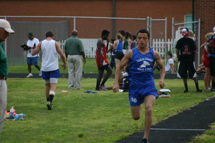 LaRue County's Marquis Franklin, a seventh grader, competed in the May 10 conference track meet at LCHS.