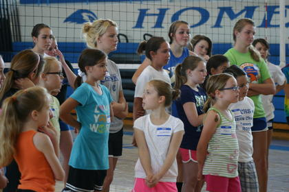 Nineteen girls attended the June 8-9 volleyball camp.