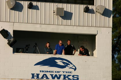 The press box offered a bird's eye view of the graduation ceremony.