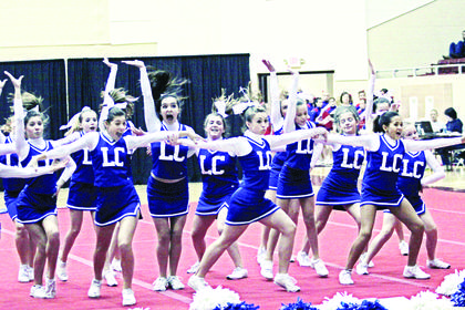 The LaRue County Middle School Cheerleaders placed fifth in the Super Large Division at the first-ever KAPOS State Middle School competition at Eastern Kentucky University. The squad is composed of sixth, seventh and eighth graders. Cheerleaders are Grace Armes, Christina Hardin, Rachel Armes, Hayley Cecil, Whitney Bauer, Cristine Shive, Destiny Kirby, Allyson Bauer, Kylee Thurman and Chloe Sandidge.