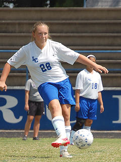 LaRue County defender Peyton Gardner contributed to Saturday's 10 - 0 shutout of Louisville Southern.