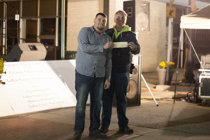 Talent Show, adult, first, Aaron Harp, Elizabethtown. Award presented by Lincoln Days President Rob Thurman.