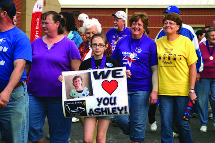 Supporters of Ashley Long, a student at HES who has been battling cancer for a few years now.