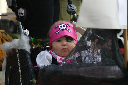 Adeline Rose Droddy, 5 months, dressed as a pirate.