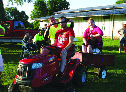 Kevin and Brianna Kurtz of Louisville were the winners of the Backseat Driver contest at the LaRue County Fair. They finished the course in 1:36.