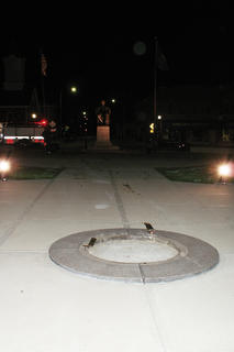 The base of the Boy Lincoln Statue, after the sculpture was struck by a car early Sunday.