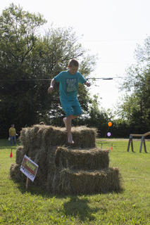 Brett Brooks ran the 4-H Clover Dash Obstacle Course several times trying to get the lowest time.