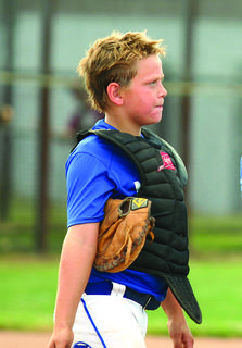 LaRue County's Dylan Grey, catcher for the 10U team