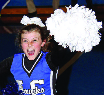 LaRue County High School Cheerleader Emma Bowling cheered during Blue and White Night Friday.
