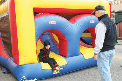 Denny Duggins supervised the bouncy houses.