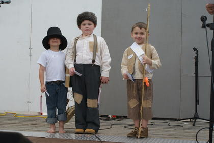 Winners of the Little Abe Contest for ages 3-6 are from left, Herbert Alexander Morgan, third; Gabriel Humphrey, second; and Will Humphrey, first. There were no contestants for ages 7-10.