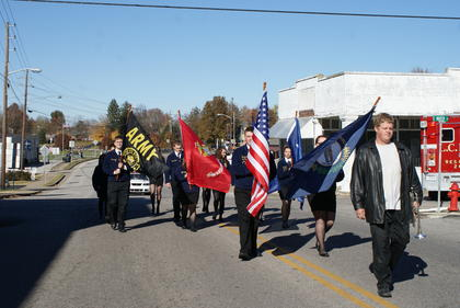 LaRue County High School FFA students carried flags in the parade.