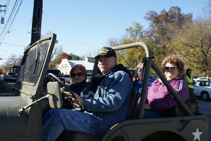 Nina Cundiff rode in a 1952 jeep in the Veterans Day Parade. It was used in the 2nd Battalion, 138th Artillery commanded by Cundiff's husband, Brigadier General Robert W. Cundiff.