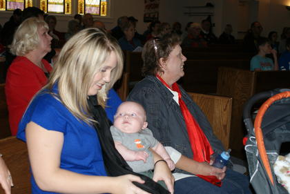 Brittany Struck Smith and her son Lyndon joined Ramona Coffey at the ceremony at Hodgenville Civic Center.