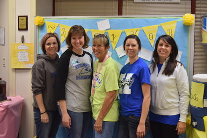 HES PTSO was greeted with refreshments as a thank you from teachers and staff for all their hard work and volunteering. Pictured are PTSO volunteers Camille Milby, Rachel Richey, Sandy Lafollette, Christina Laugher and Tamra Trumbo.