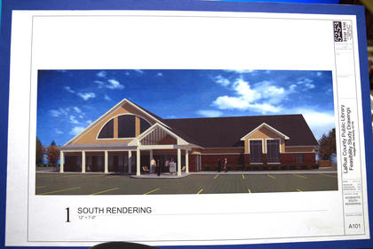 Below, LaRue County Public Library Director Dana Jolly revealed the architectual rendering of the new Library. It will be located on Lincoln Drive next to Fort Knox Federal Credit Union. Ground breaking is set to begin this Fall.