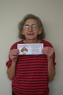 Edna Mae Owens was the turkey winner for the City of Hodgenville.
