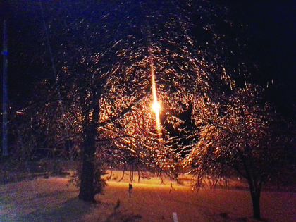 A security light glowed behind icy branches outside Hodgenville.