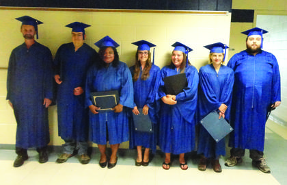 LaRue County Adult Education's GED graduation was June 16. Students receiving awards for high scores in each subject area are shown. From left, Tracy Riggs – Science Award, Michael Zahnle – Overall Highest GED Award, Elizabeth Dorsey – Language Arts Reading Award, Tonya Stinnett – Language Arts Writing Award, Bailey House – Math Award, Faith Johnson – Language Arts Writing Award, and Jonathan Greenland – Social Studies Award.