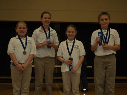 Future Problem Solving Team from HES won their event. Eden Sidebottom, Kayla Highbaugh, Avery Murray, and Connor Baker.