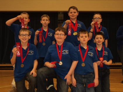 The ALES team was runner up in Quick Recall – ALES. Front from left, Connor Nicholas, Alex Loyall, Jake Skaggs, Will Faulkner; back, Gavin Whitehouse, Jacob Hinton, Isaiah Pruitt and Biven Turner.