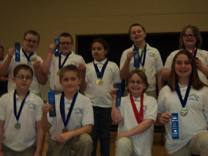 The HES team were Quick Recall champions. Front from left, Evan McCreery, Connor Baker, Rebekah Keith, Brianna McCauley-Posey; back, Nate Warren, Graham Kinzel, Yasmeen Hamada, Tripp Chapman and Emma Jean Grimes.