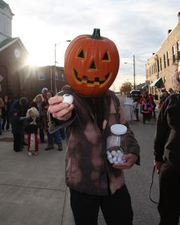 Joe Wright handed out candy eyeballs.