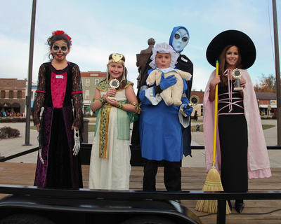 Winners of the 7-to-8-year-olds costume contest were from left, Hayden Cleveland (scariest), Gracie Laxson (cutest), Shelby Cooper (funniest) and Casey Gibson (original).