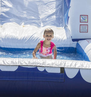 Harper Bault had a blast after she realized she could go down the water slide backwards.
