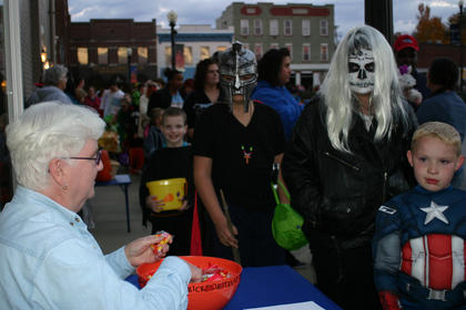 Hazel Hinton handed out candy on the square.
