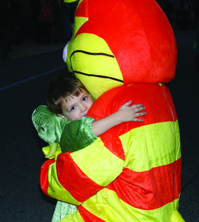 Wyatt Means got a hug from a costumed character.