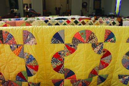 More than 40 quilt entries were displayed on the pews Saturday and Sunday.