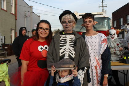 Picture from left to right are: Amber Morgan (Elmo), Barbara Rutecki (skeleton), Jensen Sholar, 5, (hammer head shark) and science experiment gone wrong J.J.