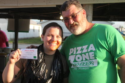 Local Kentucky National Guard recruiter Jayda Bowen won the adult spaghetti eating contest at the fair on Friday, June 2 The contest was sponsored by Pizza Zone.