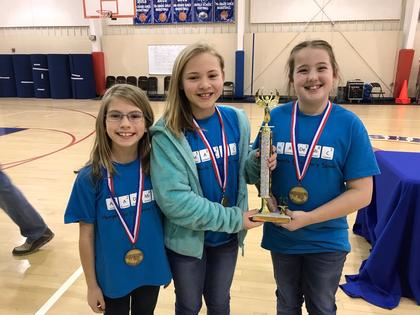 Champion FPS team from HES- Anaka Skaggs, Laura Kate Walsh, Grace Fulkerson, (absent from photo is Caydence Engle)
