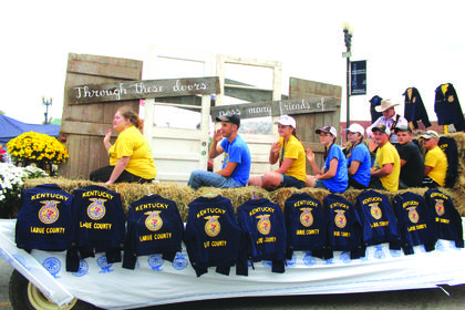 The LaRue County High School FFA chapter had the third place float in the Lincoln Days parade.