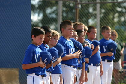 LaRue County's 10U All-Stars lined up for the National Anthem Wednesday prior to the opening game in the West Kentucky Cal Ripken State Tournament at LaRue County Park and Recreation. From left, Curtis Ford, Junior Vazquez, Brandon Hollis, Jackson Carpenter, Brice Firquin, Zane Constant, Hayden Cleveland, Noah Grey, Dillon Wayne, Kellen Bowen, Dylan Thompson and Samuel Bowling.