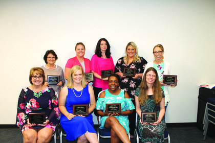 The 2017-2018 Leadership LaRue County Class was honored for the completion of this year's program. Class members included (front row) Denise Skaggs, Leeanne Ragland, Jerisia Lamons, and Mary Schultz (back row) Gwen McCubbin, Sarah Graff,  Sue Ann McCandless, Megan Clan, and Allison Bennett. Not able to attend the celebration was Justin Burris and Jasmine Barnett.