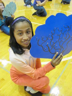 Hodgenville Elementary School students held a Chinese New Year assembly Jan. 31. Kimberly Vazquez held her Chinese cherry blossom fan while preparing to dance the Beauty Song.