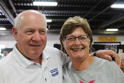 GOAP Executive Director Warren Beeler is seen with Kathy Ovensen during the hog show at this year's fair.