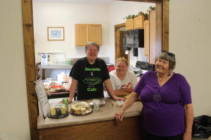 Awesome Cafe provided the food for Senior Citizen Day. Pictured from the left are Marie Riggs, Robin Humphry, and Sharon Hornback.
