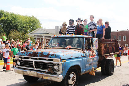 Thomas Nelson High School FFA students rode an old Ford and were dressed for their annual FFA Field of Terror held in the cornfield behind Thomas Nelson High School that begins October 8.